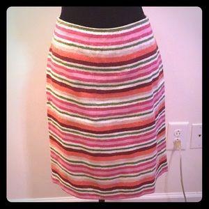 Talbots Washable Linen Striped Spring Skirt